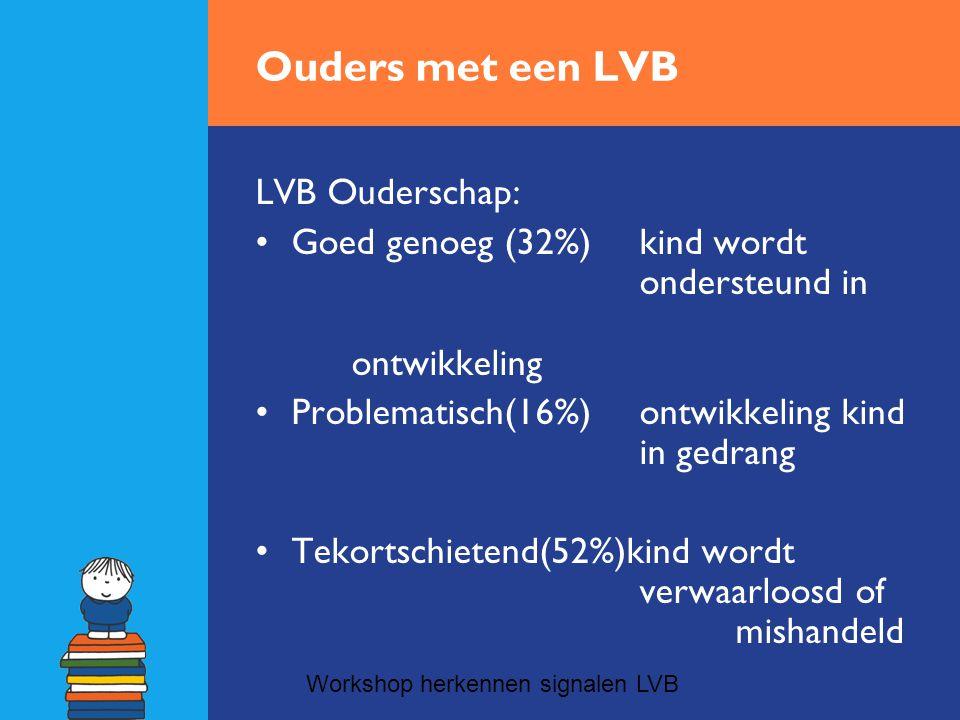 Ouders met een LVB LVB Ouderschap: •Goed genoeg (32%)kind wordt ondersteund in ontwikkeling •Problematisch(16%)ontwikkeling kind in gedrang •Tekortschietend(52%)kind wordt verwaarloosd of mishandeld Workshop herkennen signalen LVB
