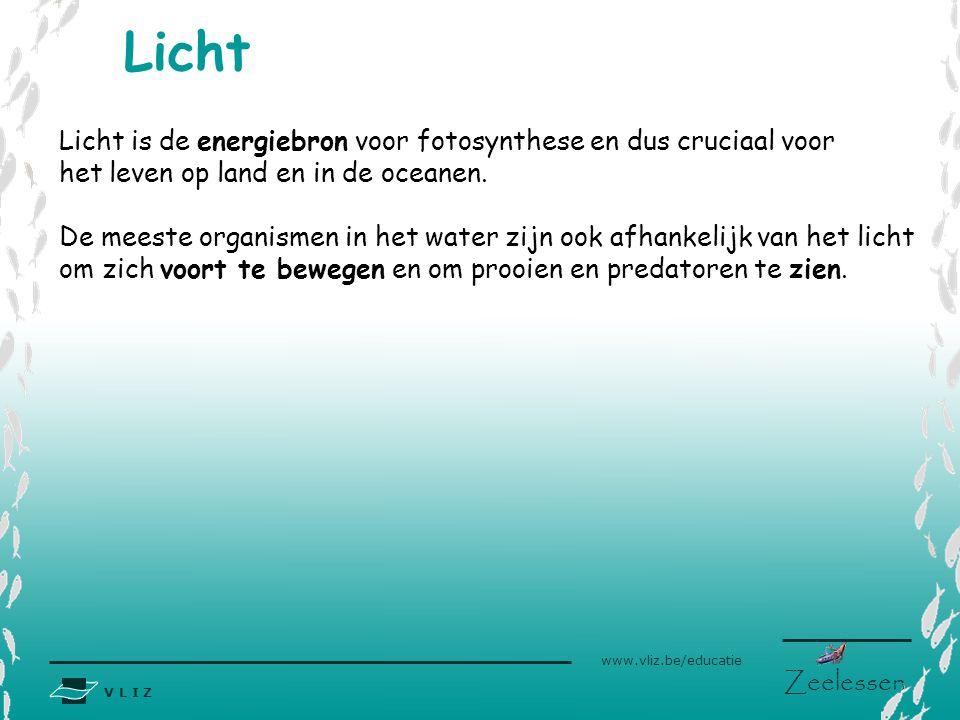 V L I Z www.vliz.be/educatie Zeelessen Licht Licht is de energiebron voor fotosynthese en dus cruciaal voor het leven op land en in de oceanen. De mee