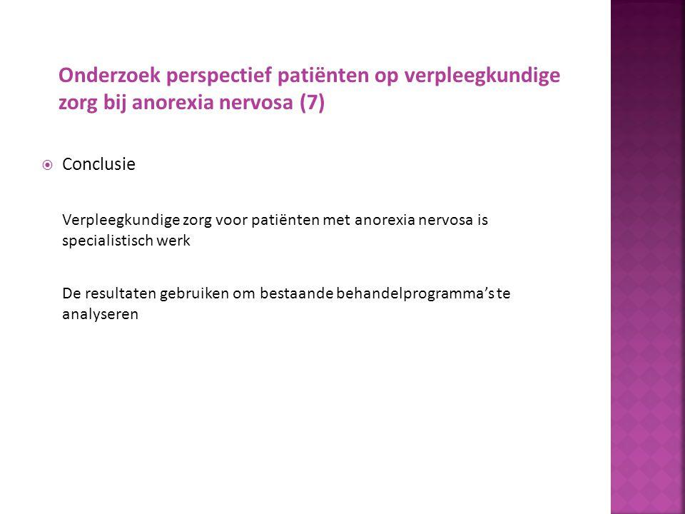 Onderzoek perspectief verpleegkundigen op verpleegkundige zorg bij anorexia nervosa René Bakker