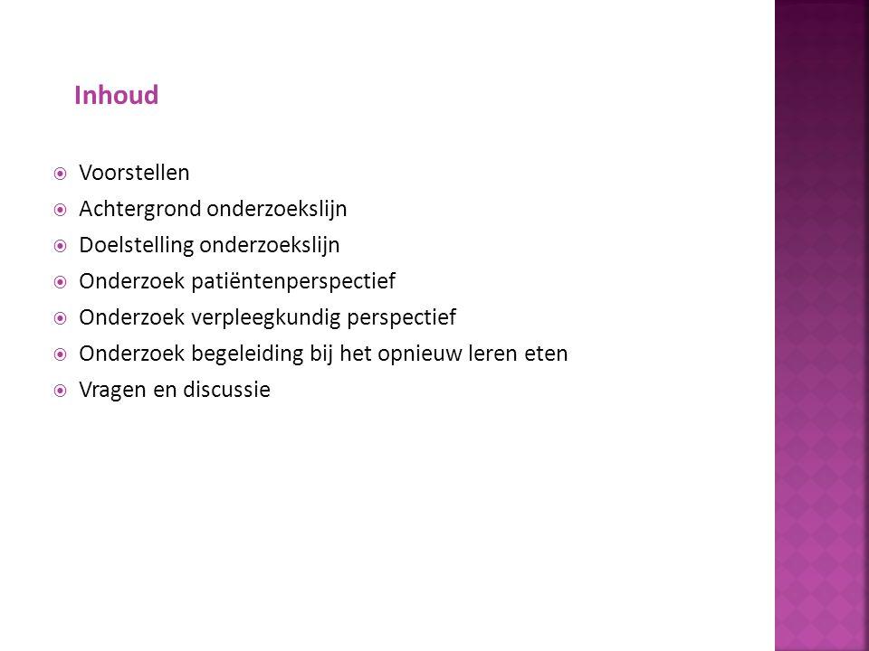  Prevalentie - 5500 personen in Nederland - 95% vrouw  Incidentie - 1300 patiënten per jaar  15% overlijd aan de gevolgen  Verpleegkundige interventies  Patiëntenperspectief  Behoefte aan kennis over verpleegkundige zorg bij anorexia nervosa (bron: Multidisciplinaire richtlijn eetstoornissen, 2006) Achtergrond