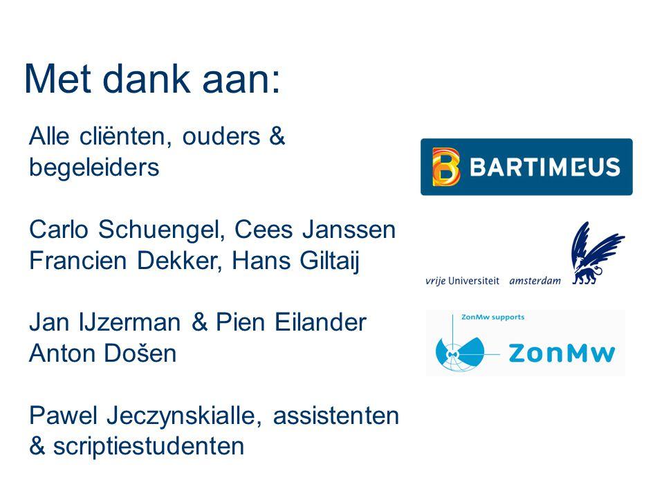 Alle cliënten, ouders & begeleiders Carlo Schuengel, Cees Janssen Francien Dekker, Hans Giltaij Jan IJzerman & Pien Eilander Anton Došen Pawel Jeczynskialle, assistenten & scriptiestudenten Met dank aan: