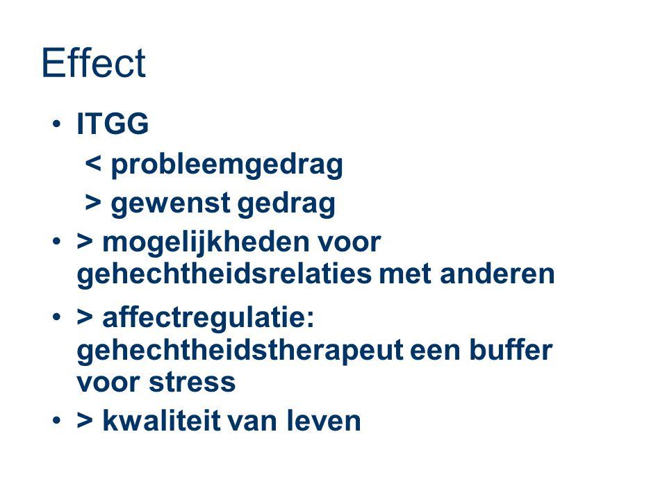 Effect •ITGG < probleemgedrag > gewenst gedrag •> mogelijkheden voor gehechtheidsrelaties met anderen •> affectregulatie: gehechtheidstherapeut een buffer voor stress •> kwaliteit van leven