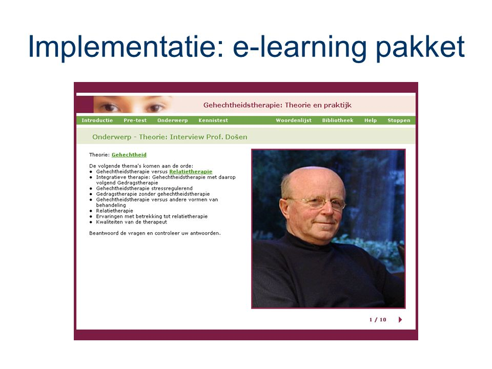 Implementatie: e-learning pakket