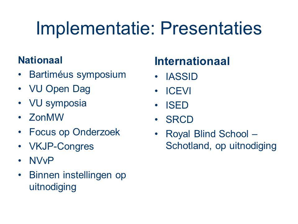 Implementatie: Presentaties Nationaal •Bartiméus symposium •VU Open Dag •VU symposia •ZonMW •Focus op Onderzoek •VKJP-Congres •NVvP •Binnen instellingen op uitnodiging Internationaal •IASSID •ICEVI •ISED •SRCD •Royal Blind School – Schotland, op uitnodiging