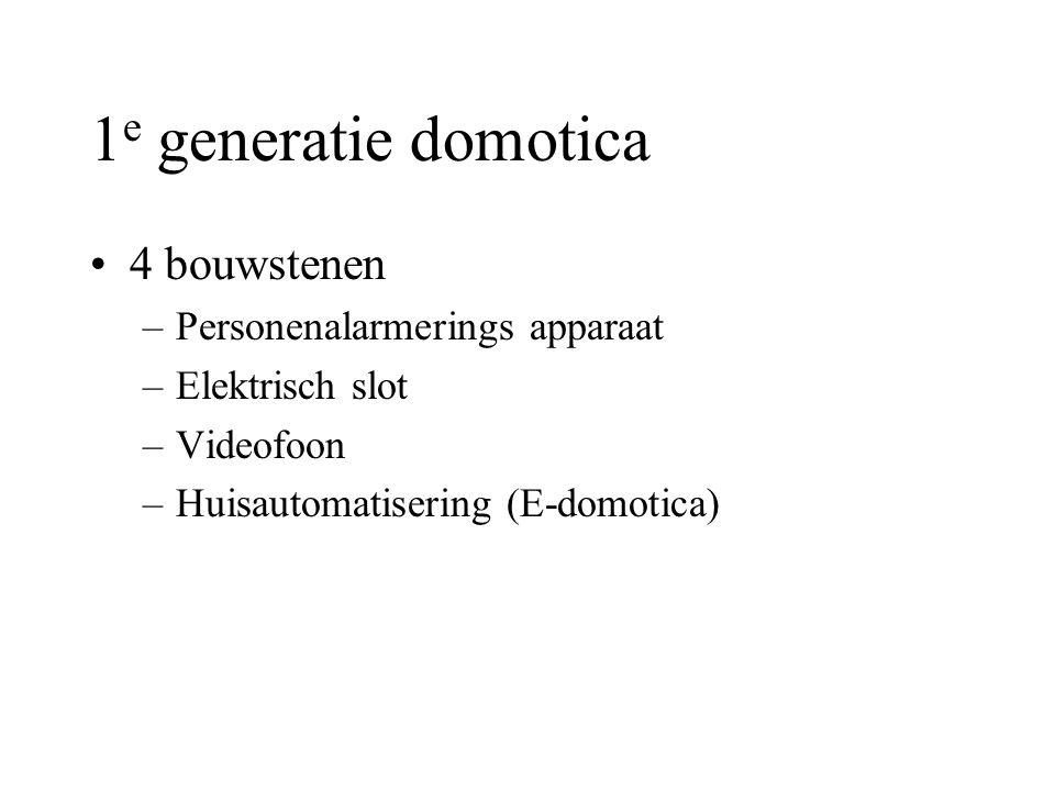 1 e generatie domotica •4 bouwstenen –Personenalarmerings apparaat –Elektrisch slot –Videofoon –Huisautomatisering (E-domotica)