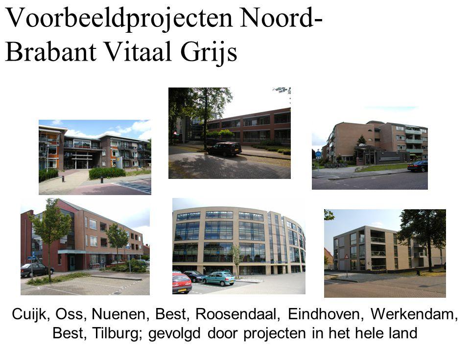 Voorbeeldprojecten Noord- Brabant Vitaal Grijs Cuijk, Oss, Nuenen, Best, Roosendaal, Eindhoven, Werkendam, Best, Tilburg; gevolgd door projecten in he