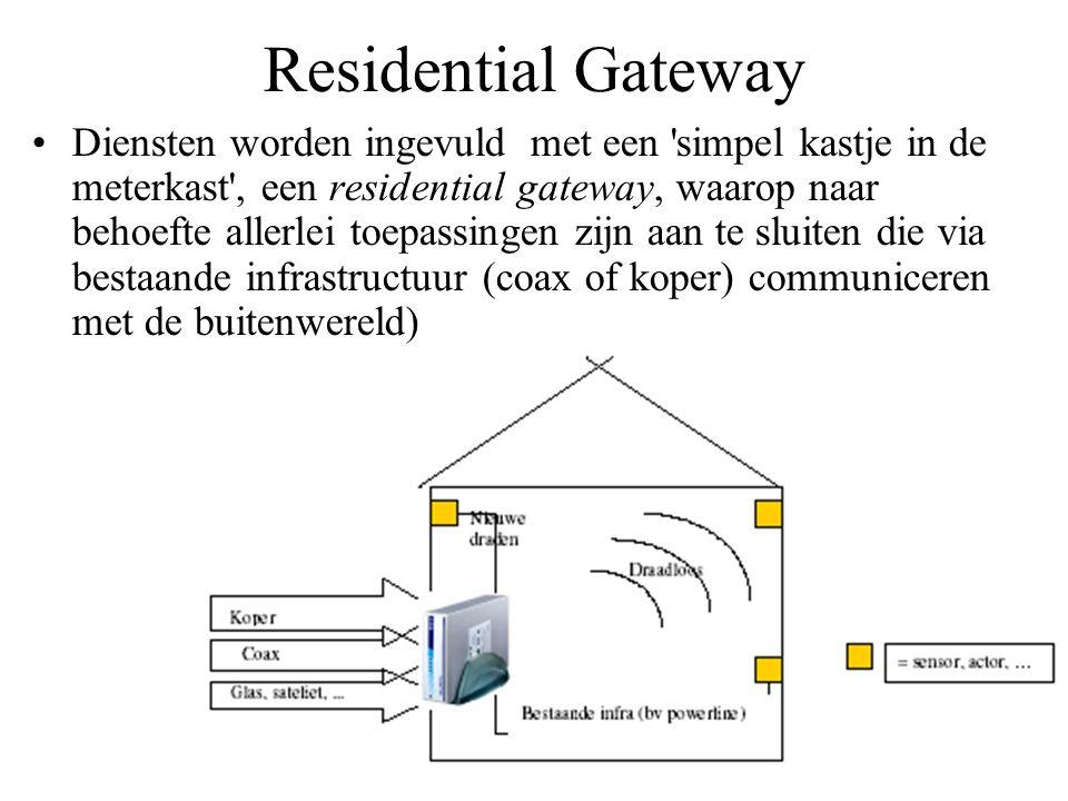 Residential Gateway •Diensten worden ingevuld met een 'simpel kastje in de meterkast', een residential gateway, waarop naar behoefte allerlei toepassi