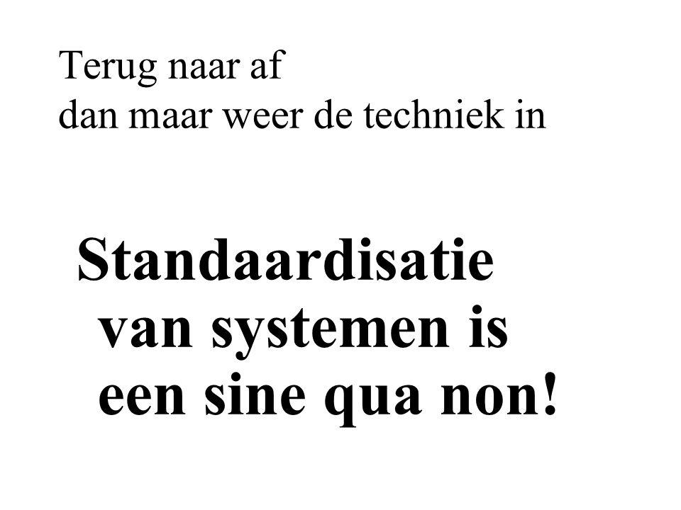 Terug naar af dan maar weer de techniek in Standaardisatie van systemen is een sine qua non!