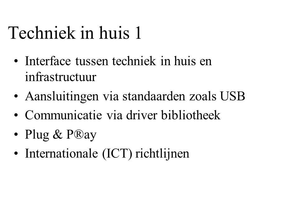Techniek in huis 1 •Interface tussen techniek in huis en infrastructuur •Aansluitingen via standaarden zoals USB •Communicatie via driver bibliotheek