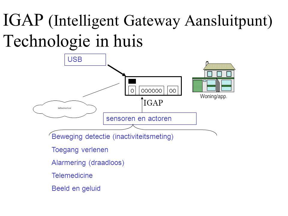 IGAP (Intelligent Gateway Aansluitpunt) Technologie in huis sensoren en actoren USB IGAP Beweging detectie (inactiviteitsmeting) Toegang verlenen Alar