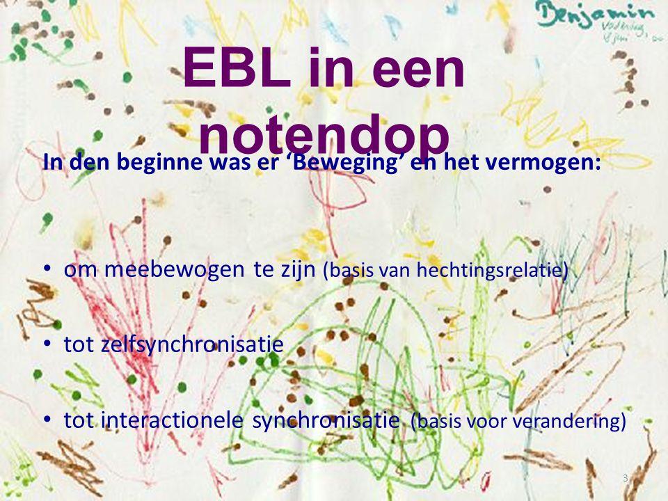3 EBL in een notendop In den beginne was er 'Beweging' en het vermogen: • om meebewogen te zijn (basis van hechtingsrelatie) • tot zelfsynchronisatie