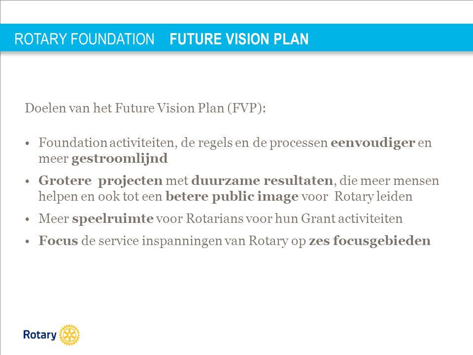 ROTARY FOUNDATION FUTURE VISION PLAN Doelen van het Future Vision Plan (FVP): •Foundation activiteiten, de regels en de processen eenvoudiger en meer gestroomlijnd •Grotere projecten met duurzame resultaten, die meer mensen helpen en ook tot een betere public image voor Rotary leiden •Meer speelruimte voor Rotarians voor hun Grant activiteiten •Focus de service inspanningen van Rotary op zes focusgebieden