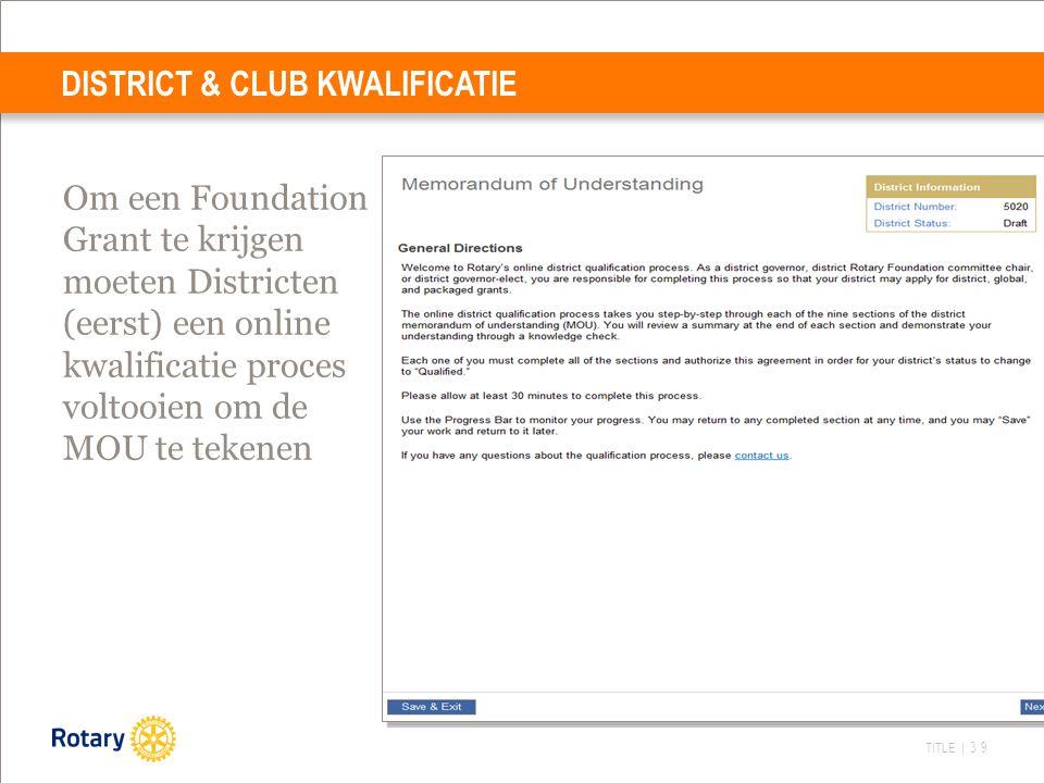TITLE | 39 DISTRICT & CLUB KWALIFICATIE Om een Foundation Grant te krijgen moeten Districten (eerst) een online kwalificatie proces voltooien om de MOU te tekenen