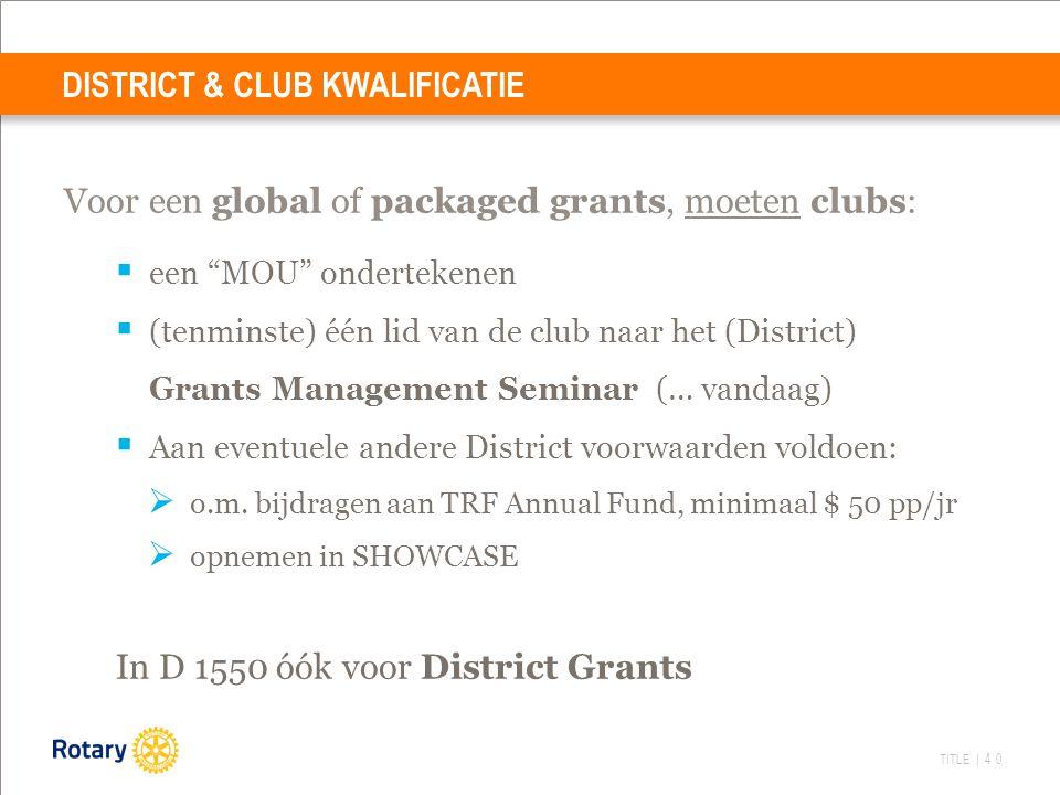 TITLE | 40 Voor een global of packaged grants, moeten clubs:  een MOU ondertekenen  (tenminste) één lid van de club naar het (District) Grants Management Seminar (… vandaag)  Aan eventuele andere District voorwaarden voldoen:  o.m.