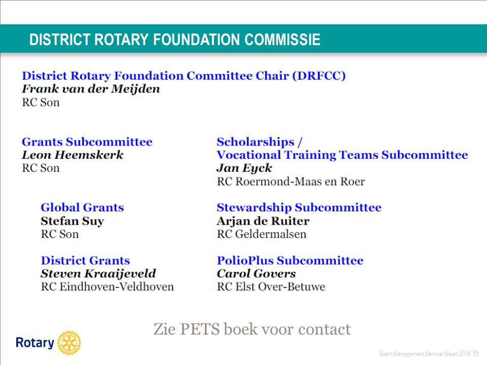 Grant Management Seminar Maart 2014 59 DISTRICT ROTARY FOUNDATION COMMISSIE Zie PETS boek voor contact