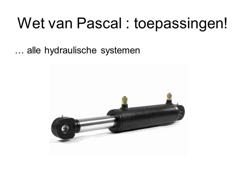 Wet van Pascal : toepassingen! … alle hydraulische systemen