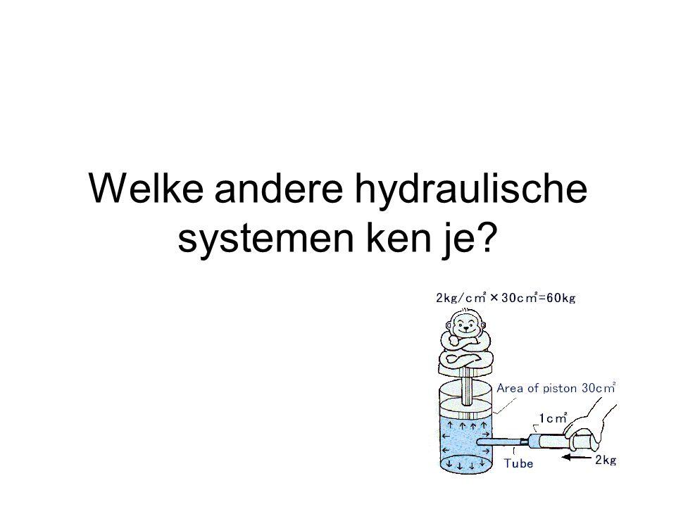 Welke andere hydraulische systemen ken je?