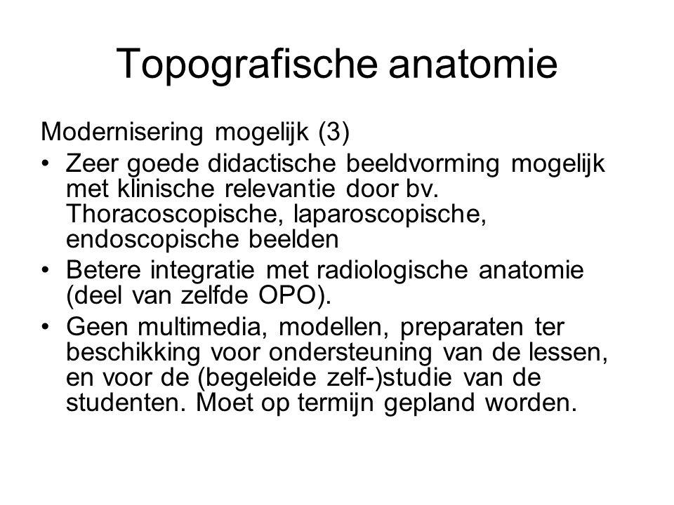 Topografische anatomie Modernisering mogelijk (3) •Zeer goede didactische beeldvorming mogelijk met klinische relevantie door bv.