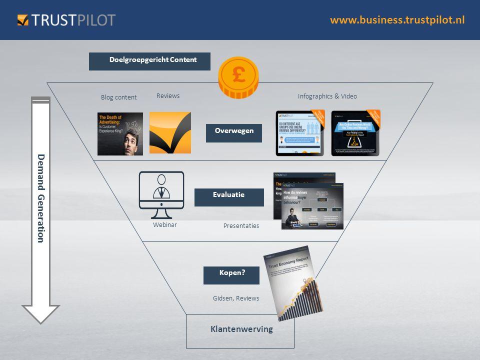 www.business.trustpilot.nl Doelgroepgericht Content Overwegen Evaluatie Kopen? Webinar Klantenwerving Presentaties Blog content Infographics & Video G