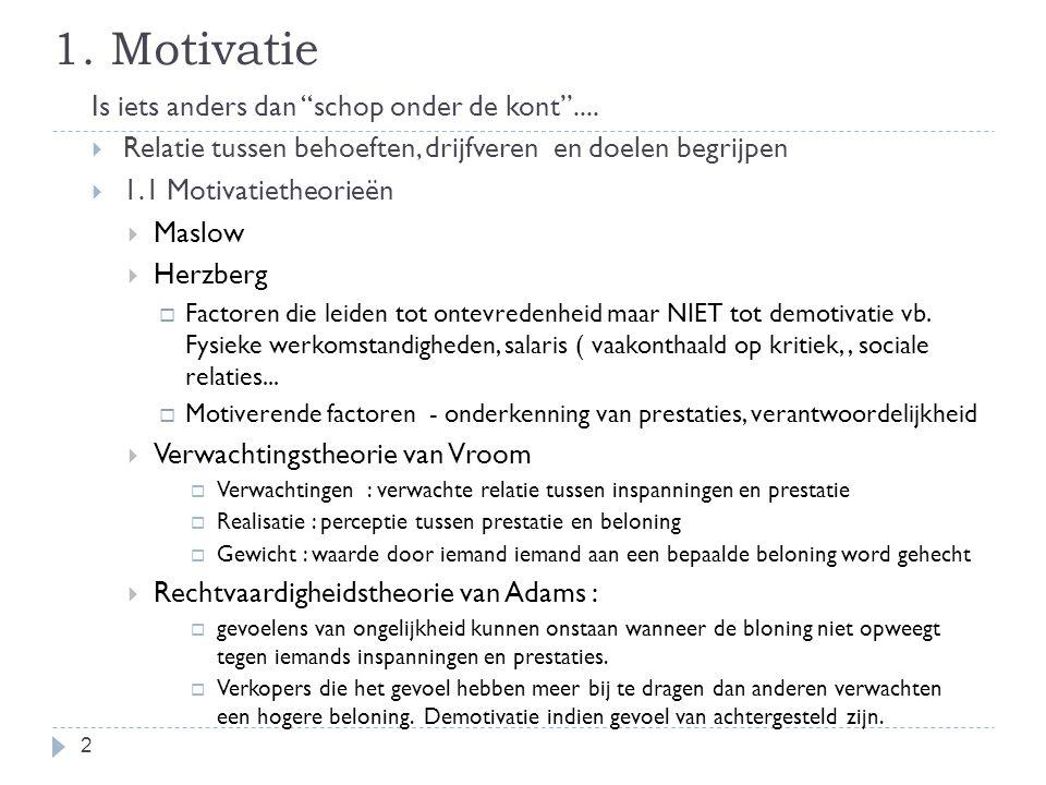 """1. Motivatie Is iets anders dan """"schop onder de kont""""....  Relatie tussen behoeften, drijfveren en doelen begrijpen  1.1 Motivatietheorieën  Maslow"""