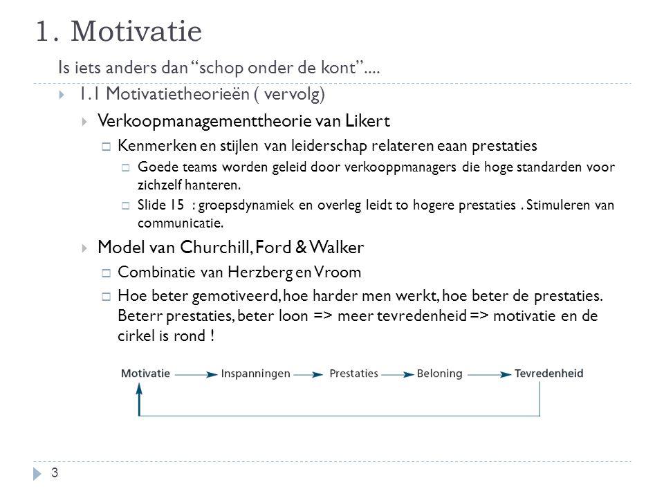 """1. Motivatie Is iets anders dan """"schop onder de kont""""....  1.1 Motivatietheorieën ( vervolg)  Verkoopmanagementtheorie van Likert  Kenmerken en sti"""