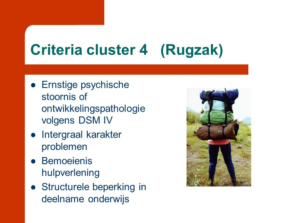 Criteria cluster 4 (Rugzak)  Ernstige psychische stoornis of ontwikkelingspathologie volgens DSM IV  Intergraal karakter problemen  Bemoeienis hulp