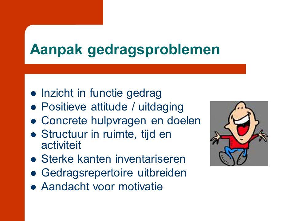 Aanpak gedragsproblemen  Inzicht in functie gedrag  Positieve attitude / uitdaging  Concrete hulpvragen en doelen  Structuur in ruimte, tijd en ac