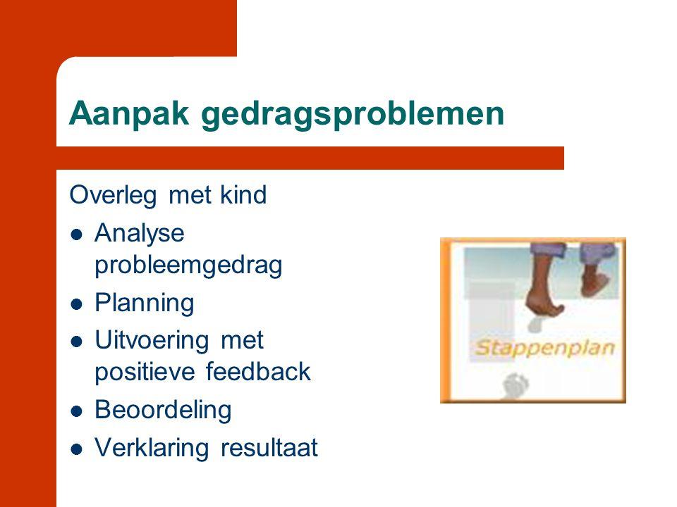 Aanpak gedragsproblemen Overleg met kind  Analyse probleemgedrag  Planning  Uitvoering met positieve feedback  Beoordeling  Verklaring resultaat