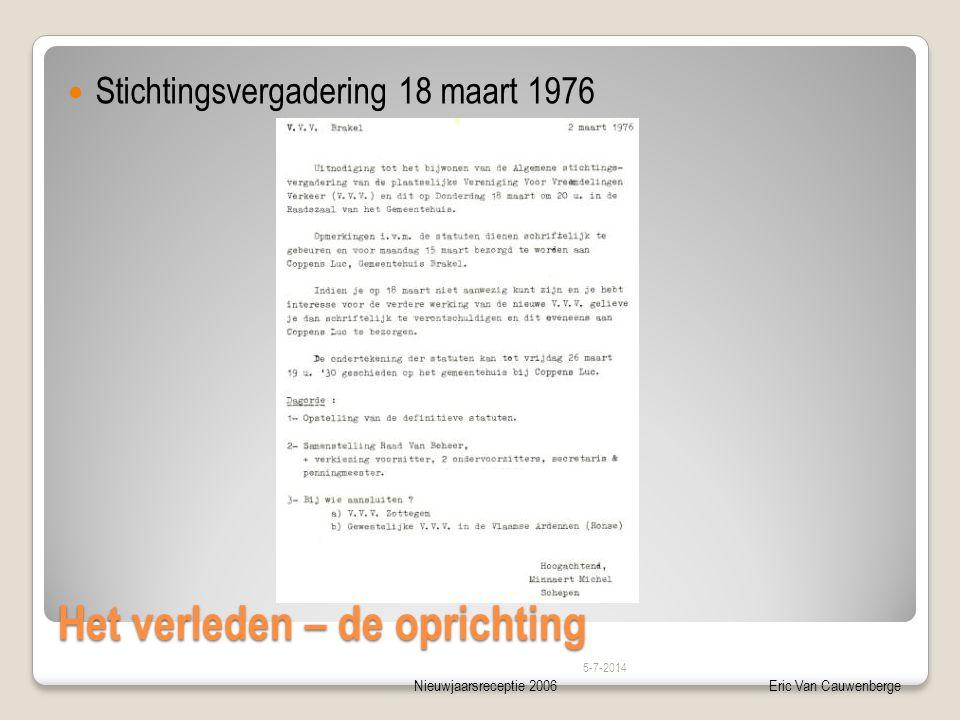 Nieuwjaarsreceptie 2006Eric Van Cauwenberge Het verleden – de oprichting  Stichtingsvergadering 18 maart 1976 5-7-2014