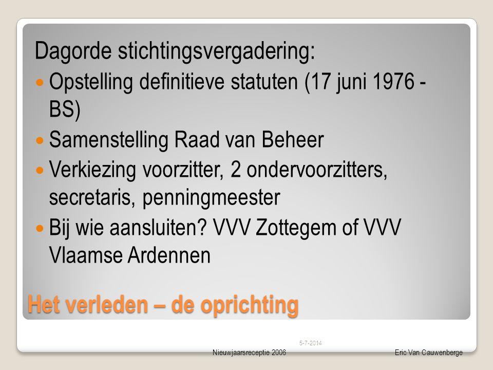 Nieuwjaarsreceptie 2006Eric Van Cauwenberge Het verleden – de oprichting Dagorde stichtingsvergadering:  Opstelling definitieve statuten (17 juni 197