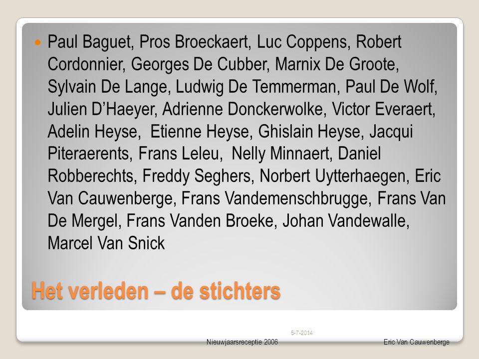Nieuwjaarsreceptie 2006Eric Van Cauwenberge Het verleden – de stichters  Paul Baguet, Pros Broeckaert, Luc Coppens, Robert Cordonnier, Georges De Cub