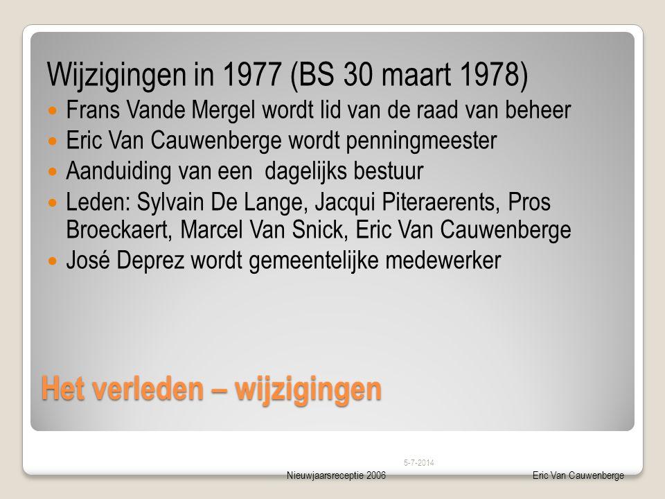 Nieuwjaarsreceptie 2006Eric Van Cauwenberge Het verleden – wijzigingen Wijzigingen in 1977 (BS 30 maart 1978)  Frans Vande Mergel wordt lid van de ra
