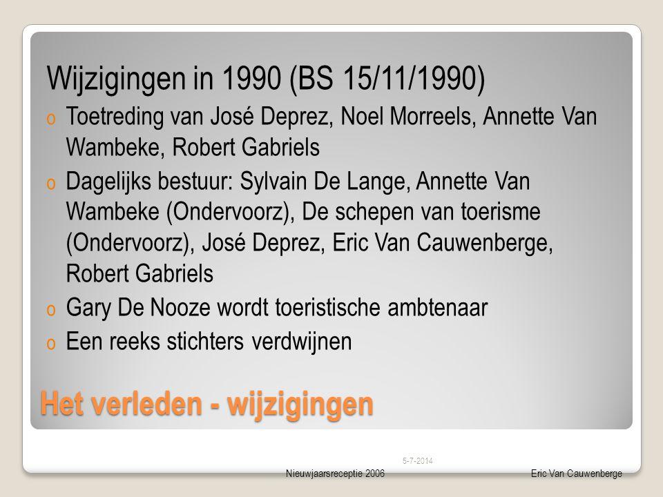 Nieuwjaarsreceptie 2006Eric Van Cauwenberge Het verleden - wijzigingen Wijzigingen in 1990 (BS 15/11/1990) o Toetreding van José Deprez, Noel Morreels