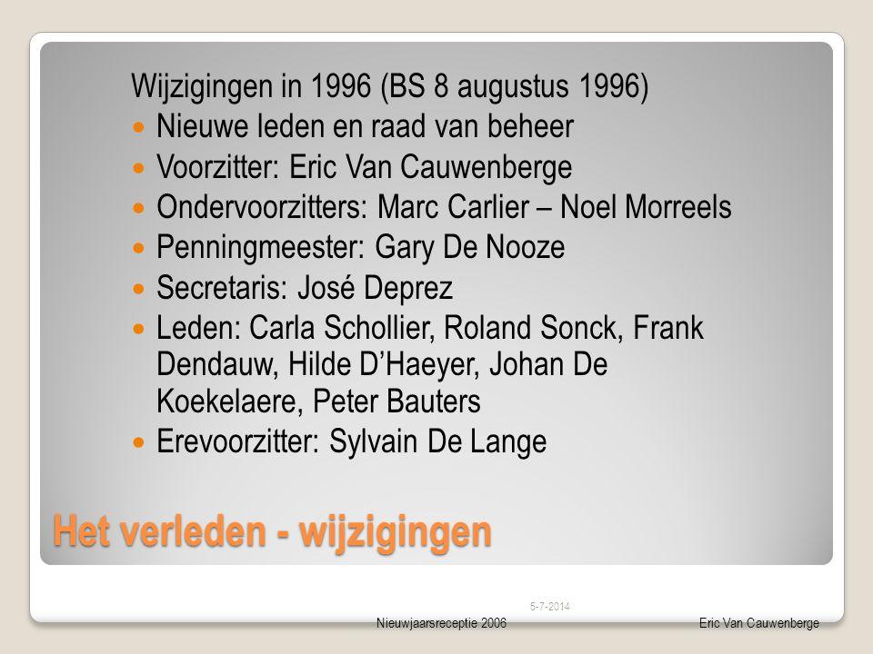 Nieuwjaarsreceptie 2006Eric Van Cauwenberge Het verleden - wijzigingen Wijzigingen in 1996 (BS 8 augustus 1996)  Nieuwe leden en raad van beheer  Vo