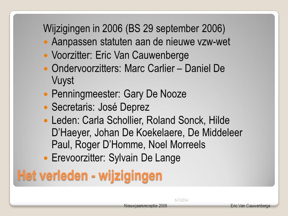 Nieuwjaarsreceptie 2006Eric Van Cauwenberge Het verleden - wijzigingen Wijzigingen in 2006 (BS 29 september 2006)  Aanpassen statuten aan de nieuwe v