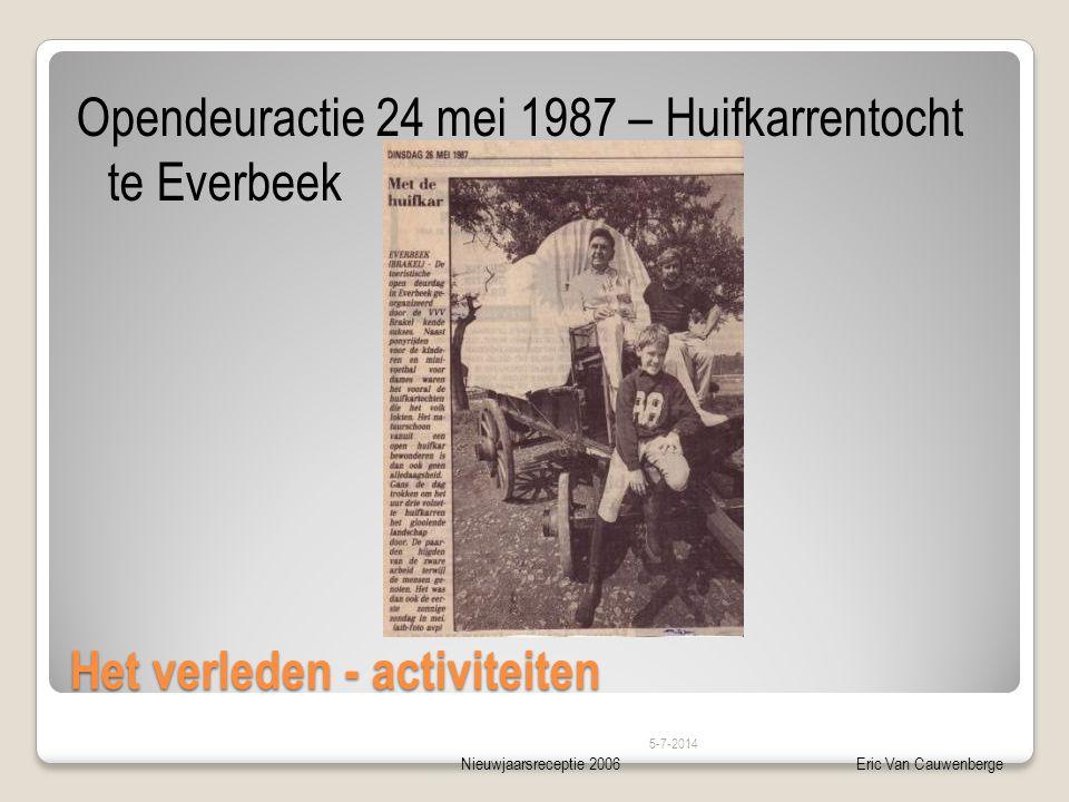 Nieuwjaarsreceptie 2006Eric Van Cauwenberge Het verleden - activiteiten Opendeuractie 24 mei 1987 – Huifkarrentocht te Everbeek 5-7-2014