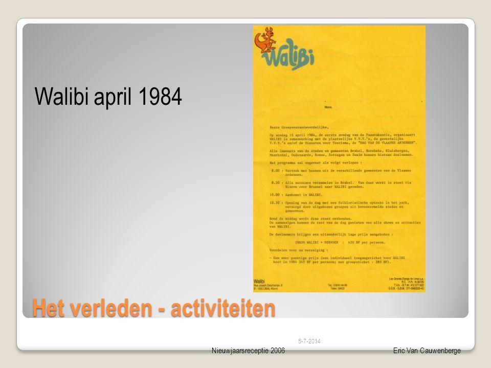Nieuwjaarsreceptie 2006Eric Van Cauwenberge Het verleden - activiteiten Walibi april 1984 5-7-2014