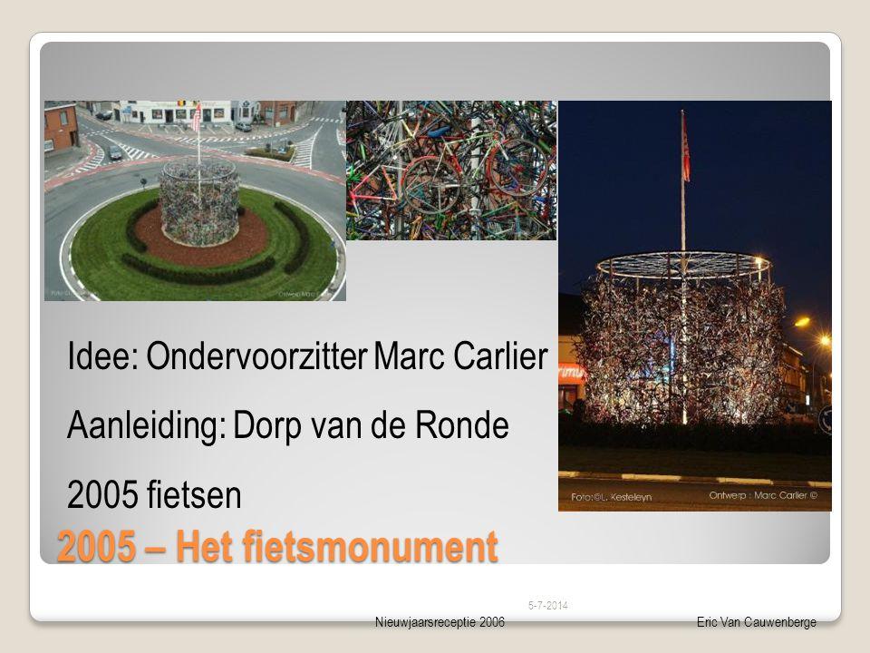Nieuwjaarsreceptie 2006Eric Van Cauwenberge 2005 – Het fietsmonument Idee: Ondervoorzitter Marc Carlier – Dorp van de Ronde 5-7-2014 Idee: Ondervoorzitter Marc Carlier Aanleiding: Dorp van de Ronde 2005 fietsen