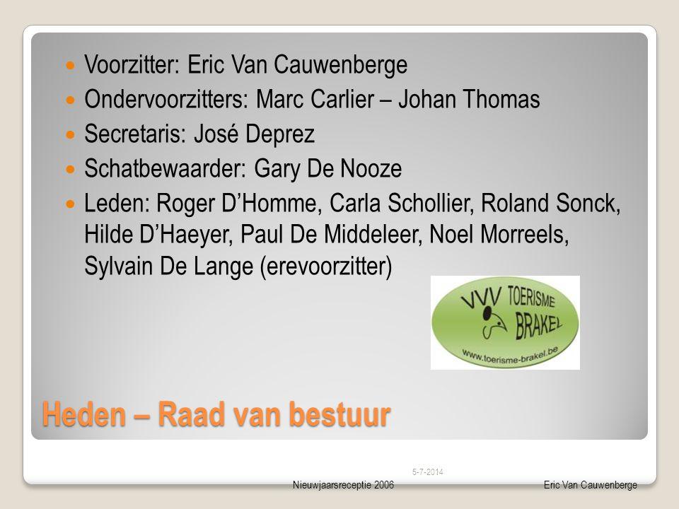 Nieuwjaarsreceptie 2006Eric Van Cauwenberge Heden – Raad van bestuur  Voorzitter: Eric Van Cauwenberge  Ondervoorzitters: Marc Carlier – Johan Thoma