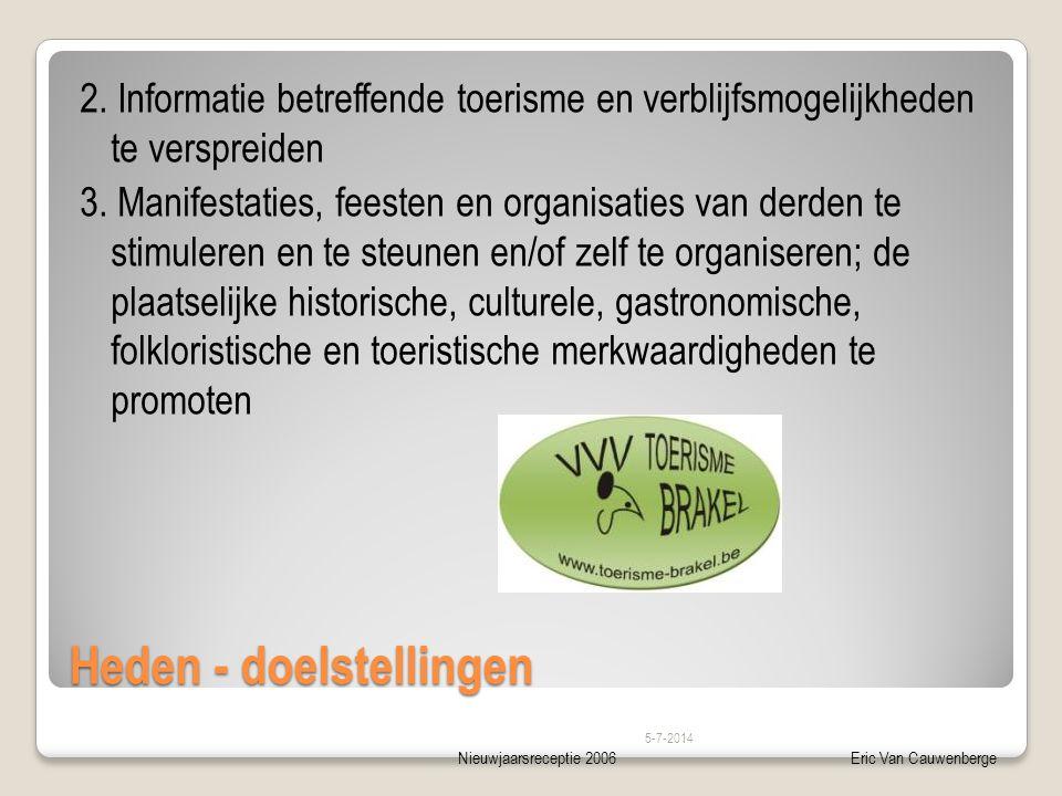 Nieuwjaarsreceptie 2006Eric Van Cauwenberge Heden - doelstellingen 2. Informatie betreffende toerisme en verblijfsmogelijkheden te verspreiden 3. Mani