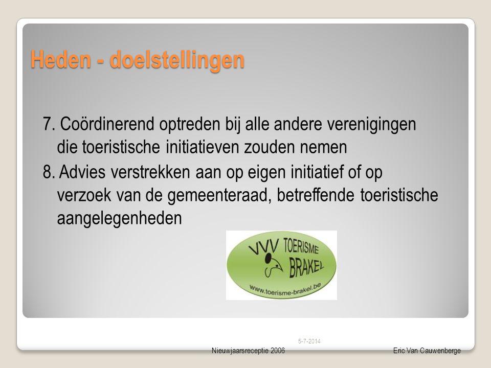 Nieuwjaarsreceptie 2006Eric Van Cauwenberge Heden - doelstellingen 7. Coördinerend optreden bij alle andere verenigingen die toeristische initiatieven