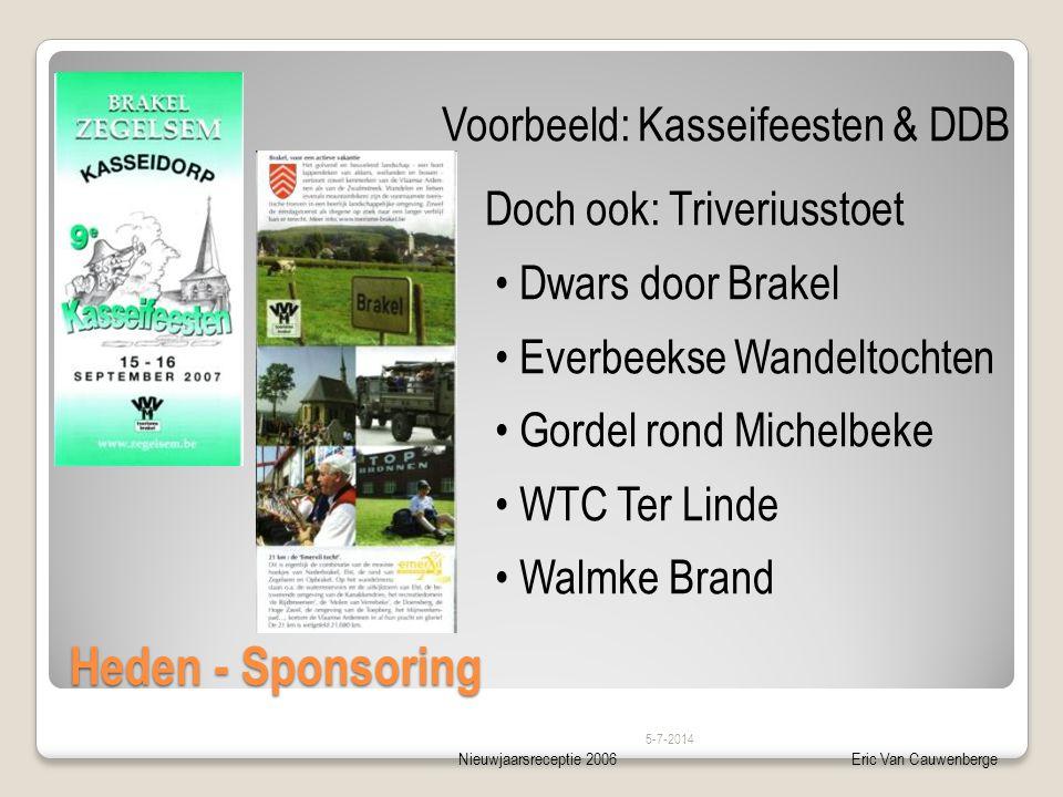 Nieuwjaarsreceptie 2006Eric Van Cauwenberge Heden - Sponsoring 5-7-2014 Voorbeeld: Kasseifeesten & DDB Doch ook: Triveriusstoet • Dwars door Brakel •