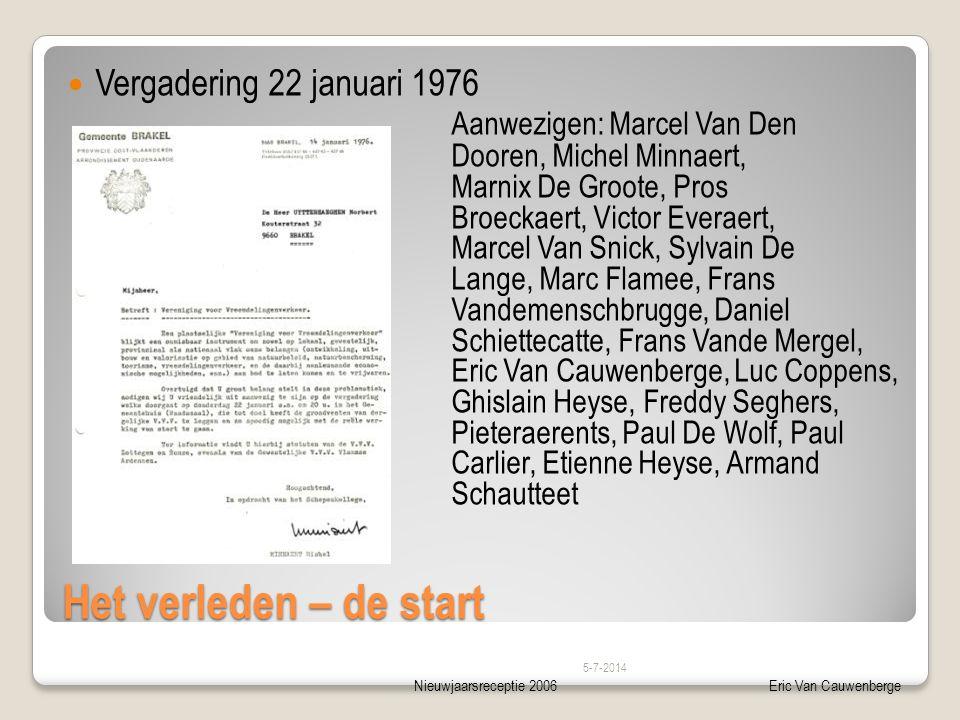 Nieuwjaarsreceptie 2006Eric Van Cauwenberge Het verleden – de start  Vergadering 22 januari 1976 Aanwezigen: Marcel Van Den Dooren, Michel Minnaert,
