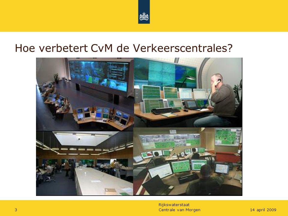 Rijkswaterstaat Centrale van Morgen1414 april 2009 Actuele stand van zaken •Redelijk beeld wat er moet gebeuren; •Gegeven dynamiek: bepalen hoe te organiseren en prioriteren; •Moment van marktbenadering onduidelijk.