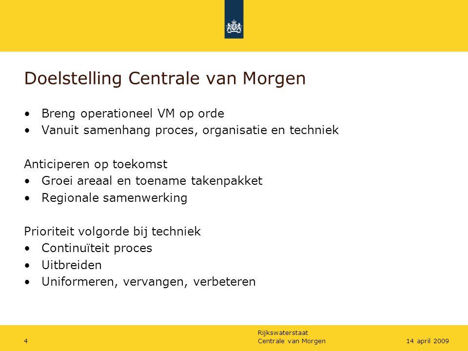 Rijkswaterstaat Centrale van Morgen414 april 2009 Doelstelling Centrale van Morgen •Breng operationeel VM op orde •Vanuit samenhang proces, organisati