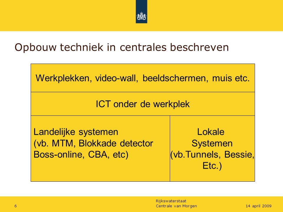 Rijkswaterstaat Centrale van Morgen614 april 2009 Opbouw techniek in centrales beschreven Werkplekken, video-wall, beeldschermen, muis etc. ICT onder