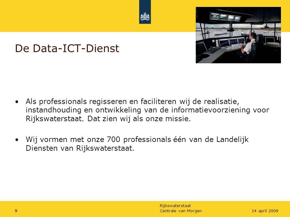 Rijkswaterstaat Centrale van Morgen914 april 2009 De Data-ICT-Dienst •Als professionals regisseren en faciliteren wij de realisatie, instandhouding en