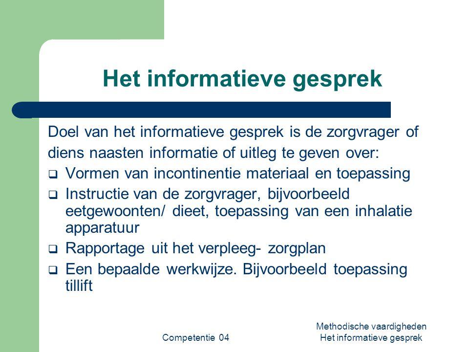 Competentie 04 Methodische vaardigheden Het informatieve gesprek Het informatieve gesprek Doel van het informatieve gesprek is de zorgvrager of diens