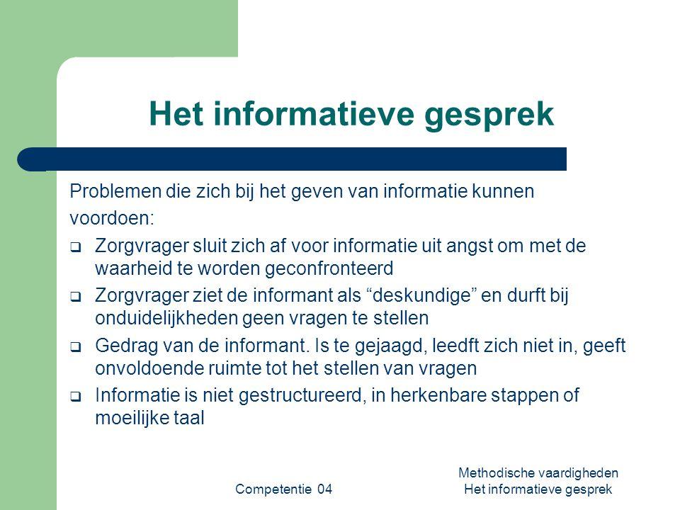 Competentie 04 Methodische vaardigheden Het informatieve gesprek Het informatieve gesprek Problemen die zich bij het geven van informatie kunnen voord
