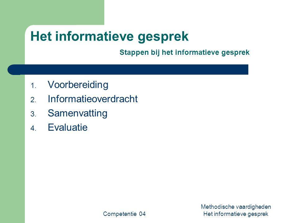 Competentie 04 Methodische vaardigheden Het informatieve gesprek Het informatieve gesprek Stappen bij het informatieve gesprek 1. Voorbereiding 2. Inf